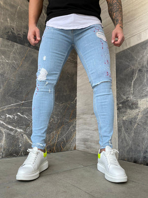 Sneakerjeans Blue Ripped Jeans DP147
