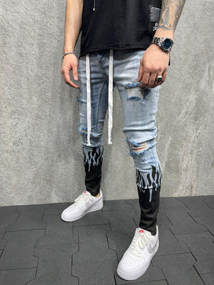 Sneakerjeans Black Flame Ripped Jeans AD115