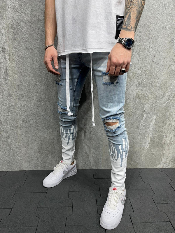 Sneakerjeans White Flame Ripped Jeans AD116