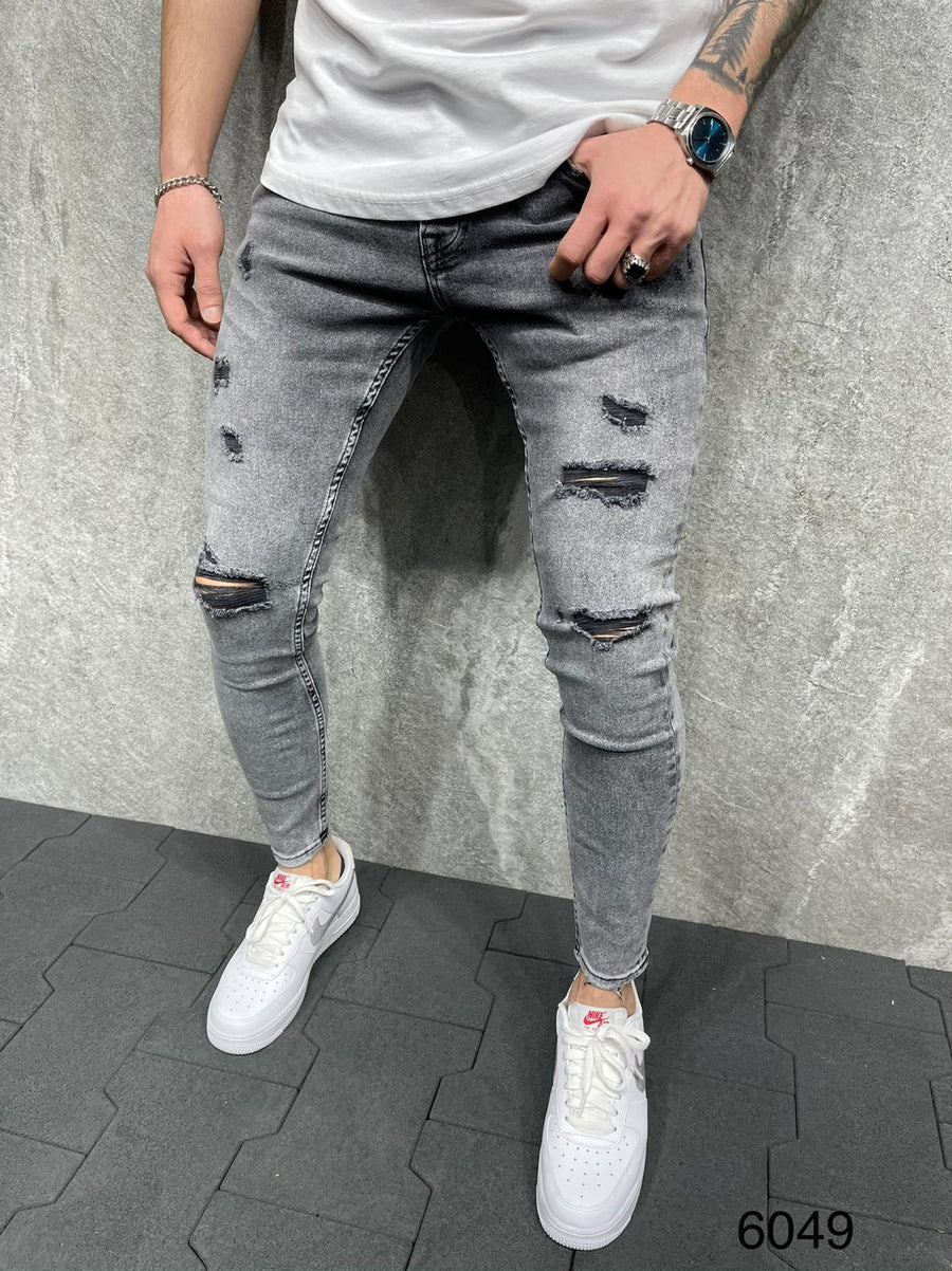 Sneakerjeans Gray Ripped Jeans AD118