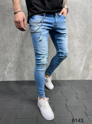 Sneakerjeans Blue Ripped Jeans AD123