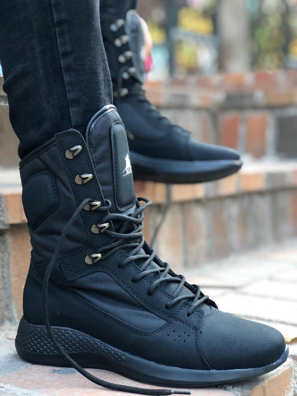 Sneakerjeans Black Combat Military Boots 222