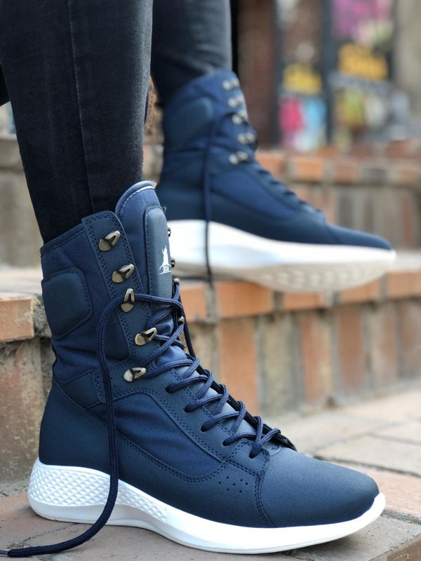 Sneakerjeans Blue Combat Military Boots UW12