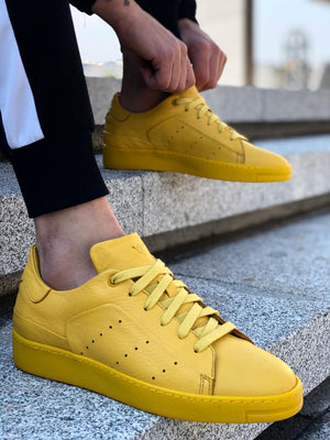 Genuine Leather Triple Yellow Sneaker 0035