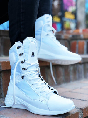 Sneakerjeans White Combat Military Boots UW8