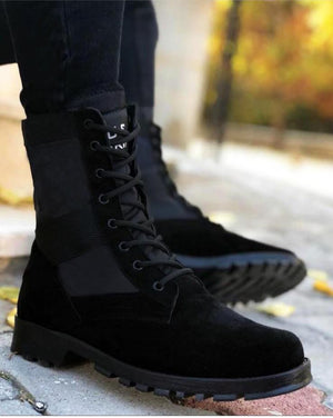 Sneakerjeans Black Suede Military Boots 143 - Sneakerjeans