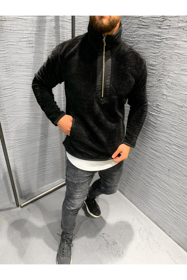 Black Sherpa Zipped Jump Sweater BS-513 Mens Streetwear Sweater - Sneakerjeans