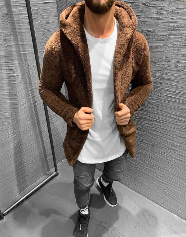 Brown Hoodie Plush Jacket KB407 Streetwear Mens Jacket - Sneakerjeans