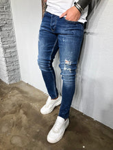 Load image into Gallery viewer, Blue Washed Distressed Ultra Skinny Denim BL419 Streetwear Jeans