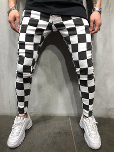 Black & White Checkered Ultra Skinny Denim AY414 Streetwear Jeans