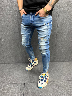 Sneakerjeans Blue Ripped Jeans AY125