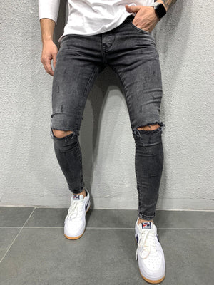 Black Washed Ripped Skinny Fit Jeans AY698 Streetwear Jeans - Sneakerjeans
