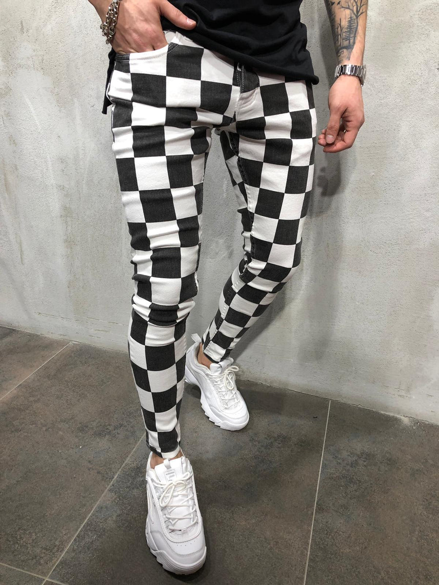 Black & White Checkered Ultra Skinny Denim AY414 Streetwear Jeans - Sneakerjeans