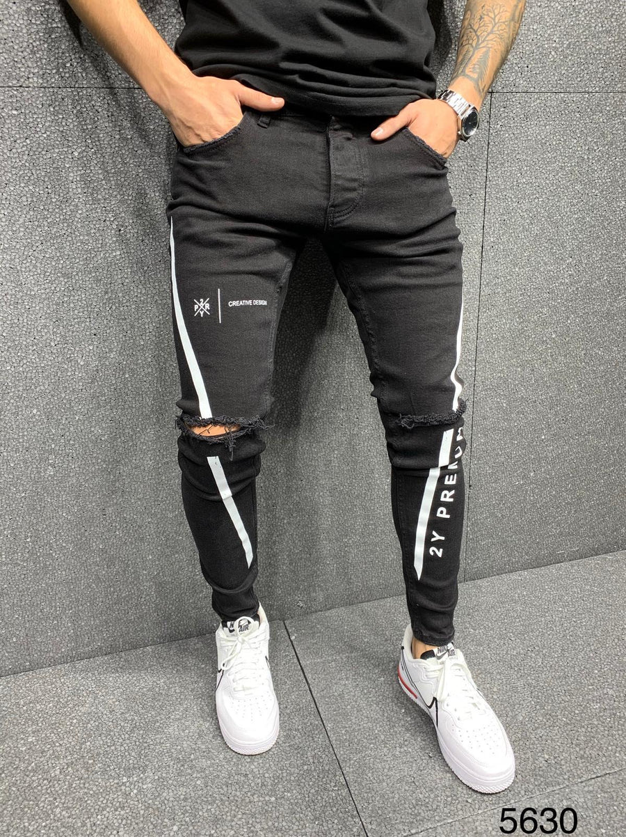 Sneakerjeans Black Ripped Jeans AY051