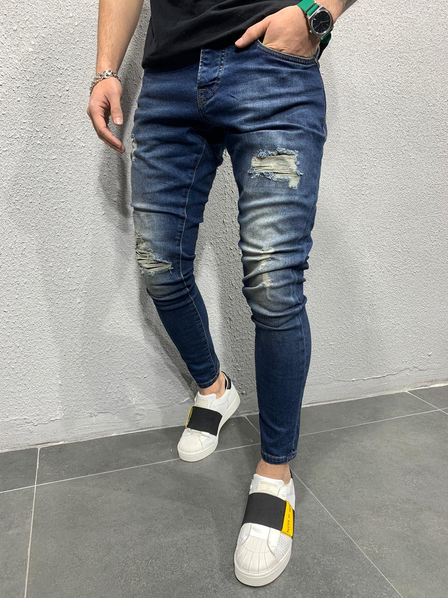 Sneakerjeans - Blue Washed Ripped Skinny Jeans AY681 - Sneakerjeans