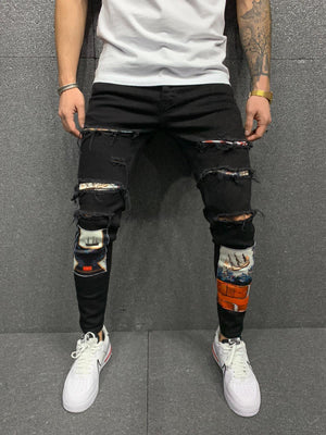 Sneakerjeans Black  Ripped Jeans AY163