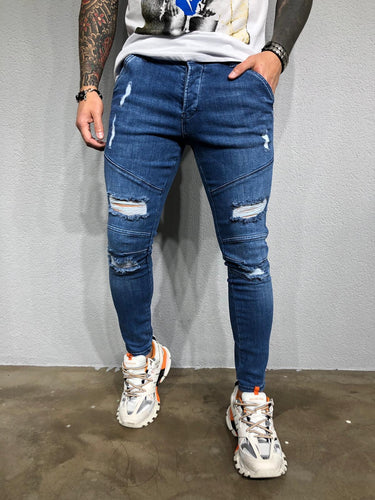 Blue Washed Ripped Ultra Skinny Pant BL436 Streetwear Jeans