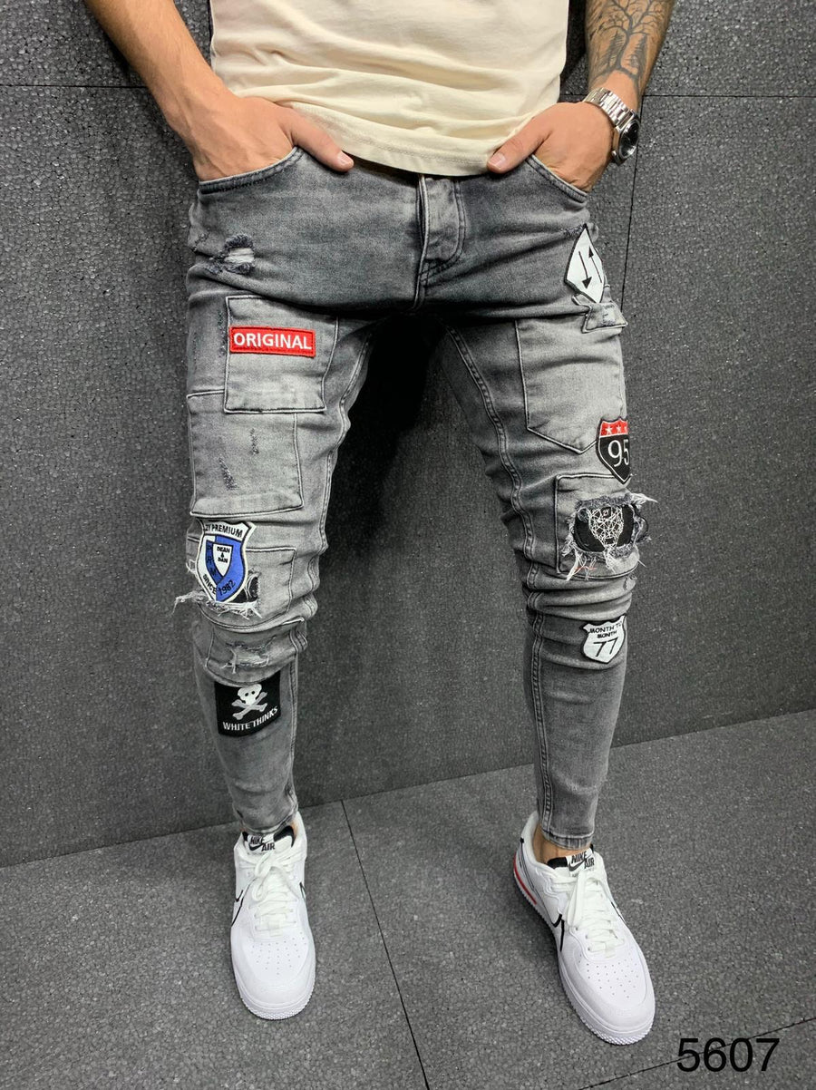 Sneakerjeans Gray Patched Jeans AY019