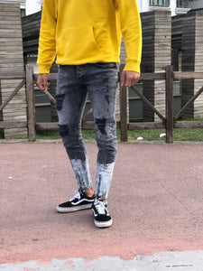 Double Colour Ripped Skinny Fit Jeans B159 Streetwear Mens Jeans