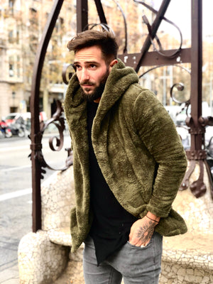 Khaki Shearling Jacket KB138 Streetwear Mens Jacket - Sneakerjeans