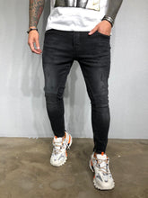 Load image into Gallery viewer, Black Washed Ankle Zip Distressed Ultra Skinny Pant BL433 Streetwear Jeans