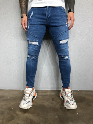 Blue Washed Ripped Ultra Skinny Pant BL436 Streetwear Jeans - Sneakerjeans