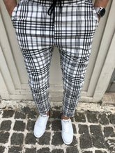Load image into Gallery viewer, White Checkered Slim Fit Casual Mens Pant DJ174 Mens Pant