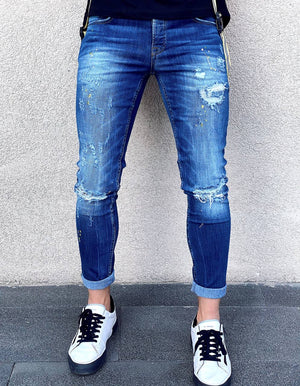 Sneakerjeans Blue Ripped Skinny Jeans AY077