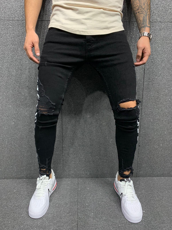 Sneakerjeans Black Striped Ripped Jeans AY031