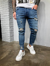 Load image into Gallery viewer, Blue Washed Ripped Ultra Skinny Denim BL405 Streetwear Jeans