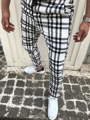 White Checkered Banding Slim Fit Casual Mens Pant DJ167 Mens Pant - Sneakerjeans