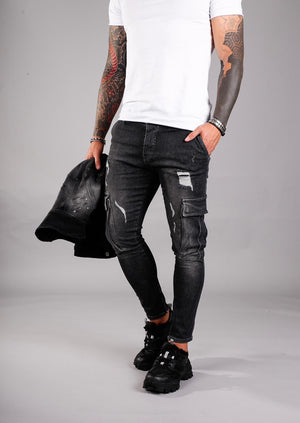 Black Cargo Pocket Ankle Zip Ripped Ultra Skinny Jeans BI-007 Streetwear Jeans - Sneakerjeans