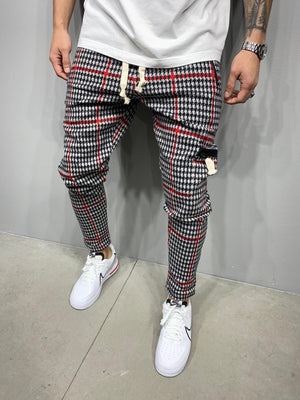 Sneakerjeans Red Checkered Jogger Pant AY046