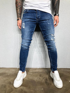 Blue Washed Distressed Ultra Skinny Denim BL419 Streetwear Jeans