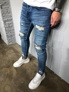 Blue Washed Ripped Ultra Skinny Denim BL405 Streetwear Jeans