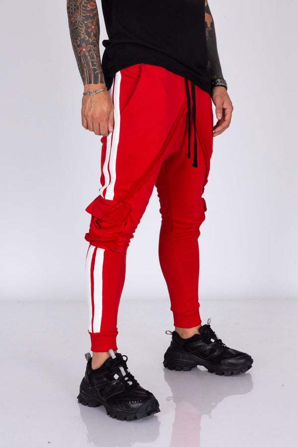 Red Striped Cargo Pocket Jogger Pant BI-015 Streetwear Mens Jogger Pants - Sneakerjeans