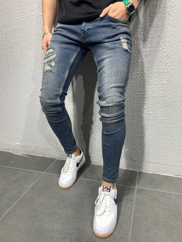 Vintage Blue Washed Ripped Skinny Fit Jeans AY682 Streetwear Jeans