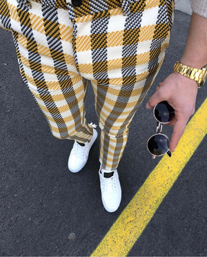 Yellow White Mixed Checkered Slim Fit Casual Pant DJ105 Streetwear Pant - Sneakerjeans