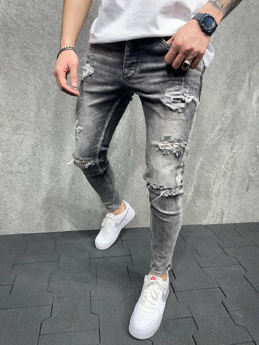 Sneakerjeans Gray Ripped Jeans AD138