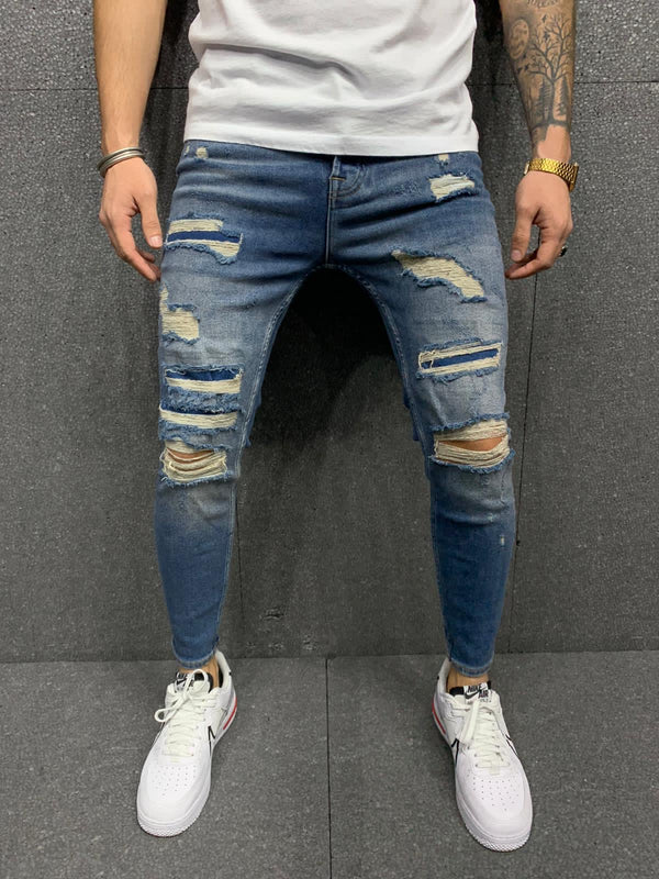 Sneakerjeans Blue Ripped Jeans AY168