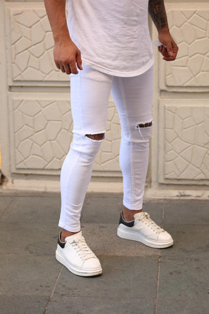 Sneakerjeans White Ripped Skinny Jeans DP47