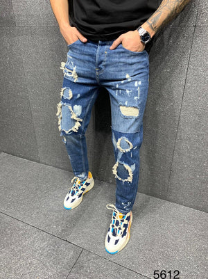 Sneakerjeans Blue Patched Jeans AY089