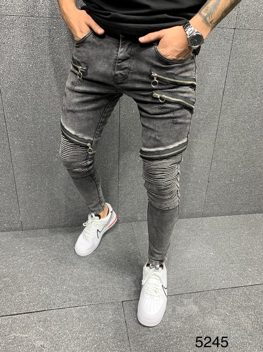 Sneakerjeans Black Zippered Jeans AY062