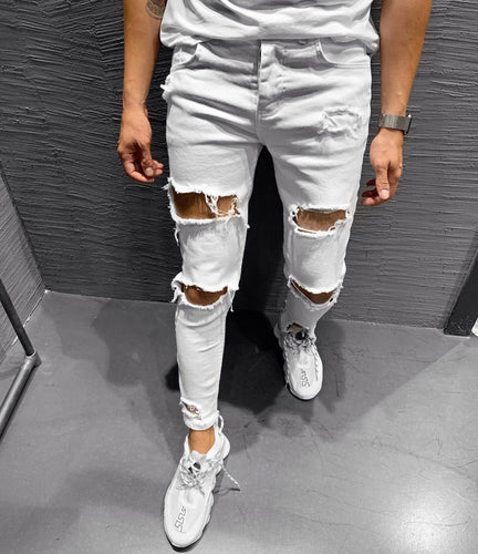 White Ripped Jeans Ultra Slim Fit Jeans KB183 Streetwear Mens Jeans