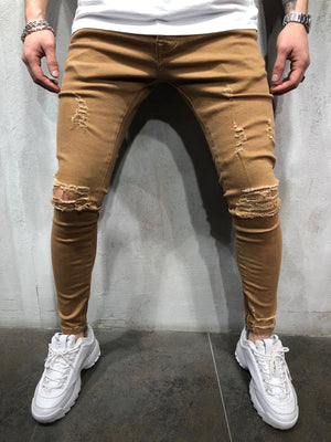 Brown Ripped Ultra Skinny Denim AY412 Streetwear Jeans - Sneakerjeans