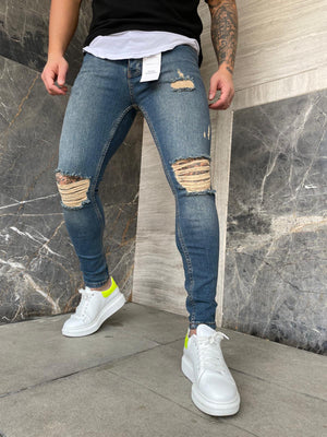 Sneakerjeans Blue Ripped Jeans DP151