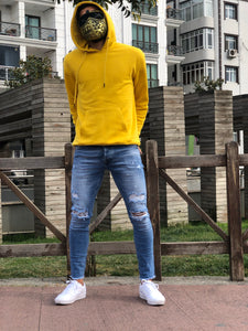 Blue Washed Ripped Skinny Fit Jeans B267 Streetwear Mens Jeans