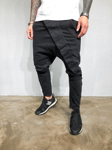 Black Asymetric Baggy Denim BL425 Streetwear Jeans