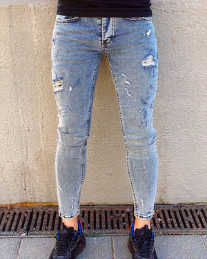 Blue Ripped Skinny Jeans AY404
