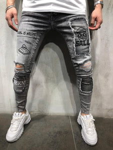Black Patched Printed Ultra Skinny Denim AY409 Streetwear Jeans